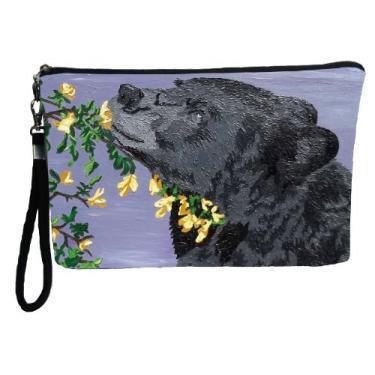 Bolsa grande vegana, bolsa lápis, bolsa de cosméticos com berloque de nylon bolsa de mão, Bear - Moment of Bliss, large