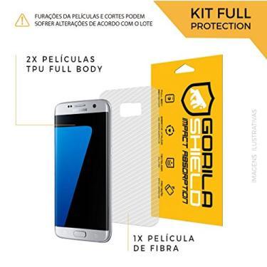 Película Nano Gel Dupla + traseira fibra de carbono para Samsung Galaxy S7 Edge - Gshield (Cobre toda tela)