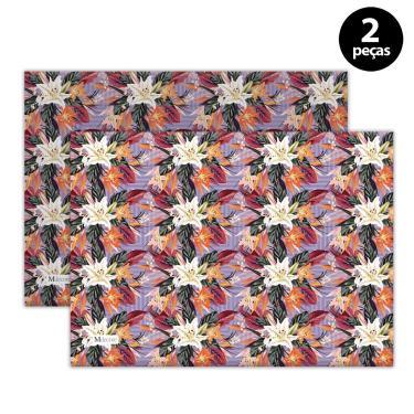 Imagem de Jogo Americano Mdecore Floral 40x28 cm Roxo 2pçs