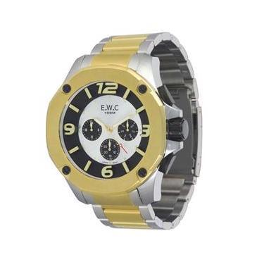 eb927079c14 Relógio Masculino Analógico EWC Colossal Octagon EMT14027-7 - Prata e  Dourado