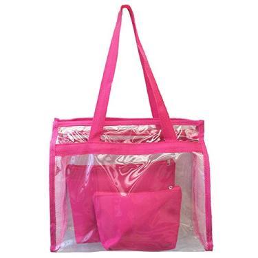 3159b4f9c7 Bolsa feminina praia sacola transparente 2 necessaires brinde rosa