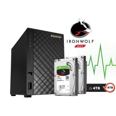 Sistema de Backup NAS com Disco Ironwolf Asustor AS1002T8000 V2 Marvell Dual Core 1,6 GHZ 512MB DDR3 Torre 8TB