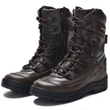 Bota Coturno Couro Militar Tático Macio Conforto Dia a Dia Marrom  masculino