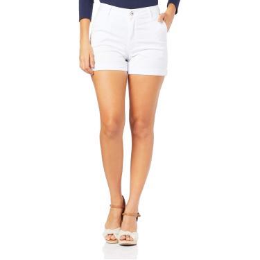 Shorts Alfaiataria cintura alta, Malwee, Femenino, Branco, 48