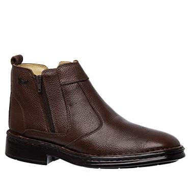 Botina Masculina 1001 em Couro Floater Café Doctor Shoes-Café-42