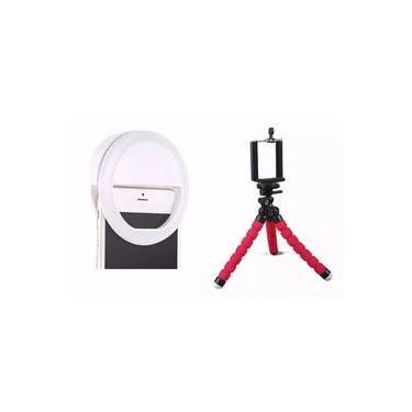 KIT Luz De Selfie Ring Light Anel Led + Tripé Flexível para Celular