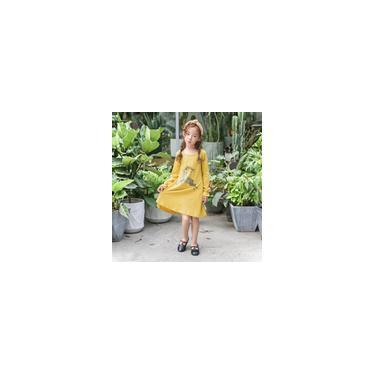 Vestido meninas Princess Dress Elk impressão Vestido de algodão manga comprida saia Kid Partido-Bestow