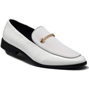 Sapato social masculino SPK05 vintage de cetim com estampa floral sedosa, bordado, sem cadarço, clássico, White (30), 10.5