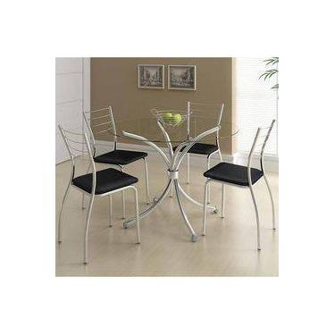 Imagem de Mesa 375 Cromada Com 4 Cadeiras 1700 Preta Carraro
