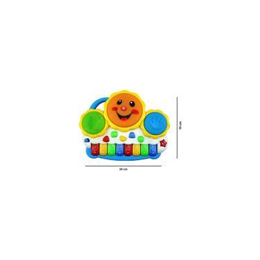 Imagem de Bateria Drum Instrumento Musical 2 Em 1 Teclado Para Bebê