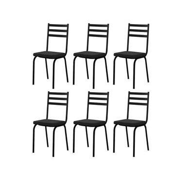 Jogo Com 6 Cadeiras Tubular Europa Assento Preto Artefamol