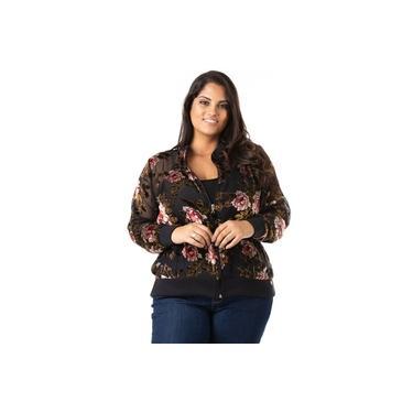 Jaqueta Feminina Bomber de Tule e Renda Plus Size