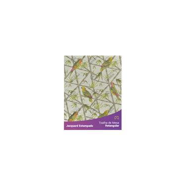 Imagem de Toalha De Mesa Retangular Em Tecido Jacquard Estampado Floral Papagaio Cinza