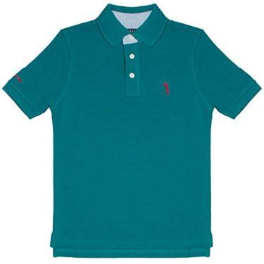 Camisa Polo Azul Lisa Infantil Aleatory-Petróleo-8