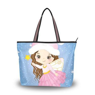 ColourLife Bolsa feminina com alça fofa de Natal pequena fada bolsa de ombro, Multicolorido., Medium