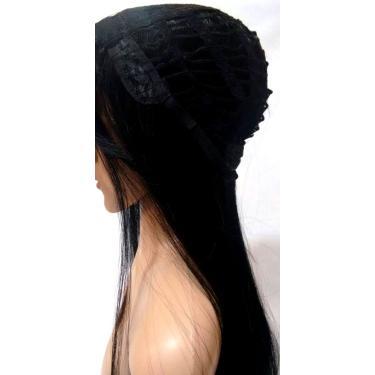 Peruca Lace Wig Preta Lisa 65cm Fibra Futura