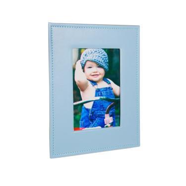 Álbum Bebê Premium 80 fotos 15x21 Courino Janela Personalizável AZUL