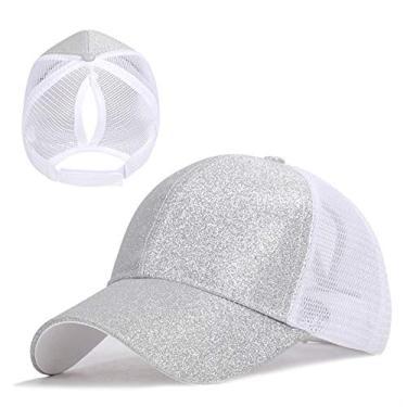 Yuanbbo Bonés de beisebol unissex, chapéu de rabo de cavalo com glitter, boné de beisebol ajustável, Prata, M