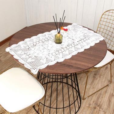 Imagem de vanyear Toalha de mesa branca para mesa de jantar de algodão, toalha de mesa de renda, 38 x 70 cm, toalhas de mesa brancas para festas