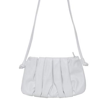 Bolsa Laura Prado Pequena Franzida Transversal Branco  feminino
