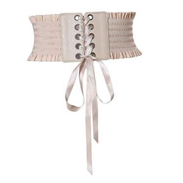 yotijar Cinto Retro Feminino de Amarrar Cinto de Cintura Espartilho Botão Waspie Fechado - Bege