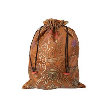DOITOOL Bolsa de seda com cordão estilo chinês, bolsa de armazenamento para festas de casamento (Cáqui, estampa aleatória) bolsa de armazenamento para viajantes