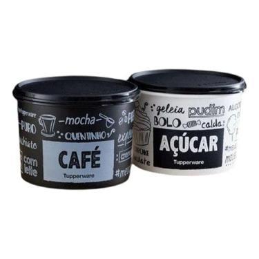 Imagem de Tupperware Caixa Café e Açúcar PB Fun Preto e Branco Kit 2 peças