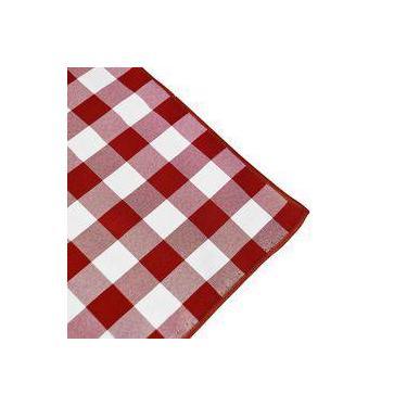 Imagem de Toalha De Mesa Retangular Em Tecido Xadrez Vermelho E Branco 2,20m