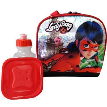 Lancheira Térmica LadyBug Miraculous com potinho e garrafinha