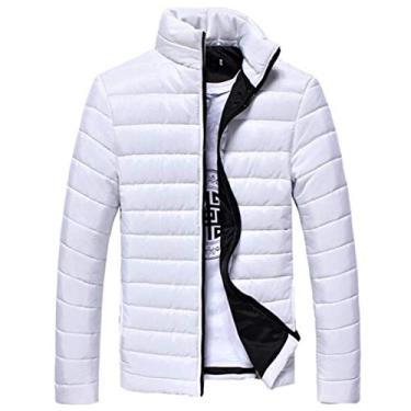 Jaqueta masculina OTW outono e inverno quente gola alta zíper casaco acolchoado casaco agasalho, Branco, XS