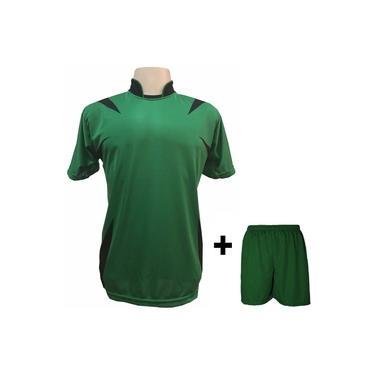Uniforme Esportivo com 14 camisas modelo Palermo Verde/Preto + 14 calções modelo Madrid + 1 Goleiro +