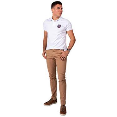 Calça Jeans Sarja Masculina Skinny Slim com Lycra Bege - 42