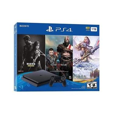 Console Sony Playstation 4 Slim 1TB com 3 Jogos God Of War / Horizon Zero Dawn / The Last Of US - Preto