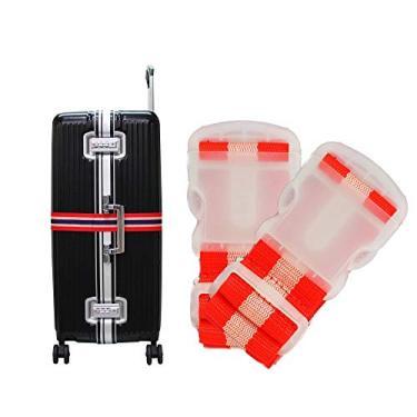 Kit 2 Cintas de Segurança para Mala de Viagem Bagagem Vermelho