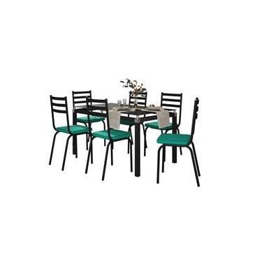 Jogo de Mesa Malva 140cm com 6 Cadeiras 118 - Artefamol