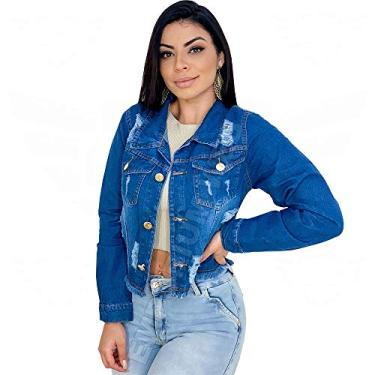 Jaqueta Jeans Feminina Curta Cropped Destroyed - Azul Escuro (GG)