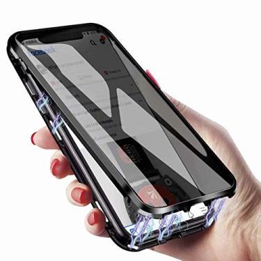 KMXDD Capa de corpo inteiro antiespionagem para Galaxy S10 S9 S8 Plus 360°, vidro temperado de dupla face transparente [absorção magnética] Capa de proteção de para-choque de metal para Note 10 9 8, GalaxyNote10, Preto