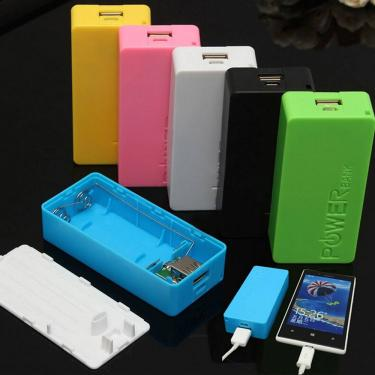 Usb power bank carregador de bateria caso 5600mah 2x 18650 diy caixa para iphone para o telefone