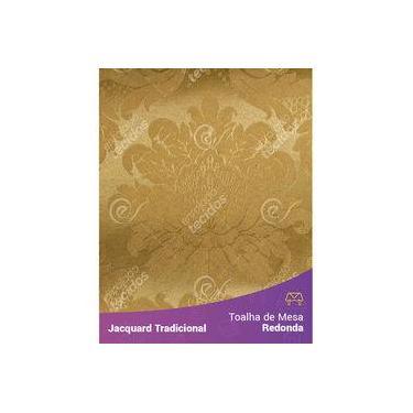 Imagem de Toalha De Mesa Redonda Em Tecido Jacquard Dourado Ouro Vibrante Medalhão Tradicional