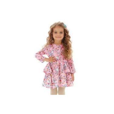 Vestido Infantil Rosa C/babados Hello Kitty E Borboletas Manga Longa