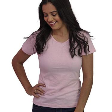 Camiseta Feminina Baby Look Básica Lisa Algodão Cor:Rosa;Tamanho:GG