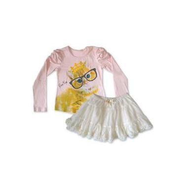 Conjunto Camiseta Rosa Gata Com Saia Tule Creme