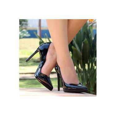 Sapato Scarpin Di Valentini Verniz Preto Feminino 475-04500