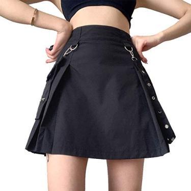 Vestido feminino gótico punk cintura alta pregueado evasê mini saia cinto fivela bolso grande irregular patchwork Harajuku casual urbano - combine com top cropped, camiseta, colete, camisete