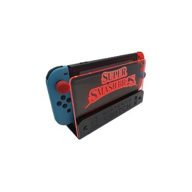 Suporte Bancada/Parede Nintendo Switch Iluminado - Smash Bros - Base Preta LED Vermelho