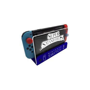 Suporte Bancada/Parede Nintendo Switch Iluminado - Smash Bros - Base Azul LED Branco