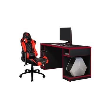 Kit Mesa Para PC Gamer Destiny com Cadeira Gamer TGC12 ThunderX3 Preto Vermelho - Lyam Decor