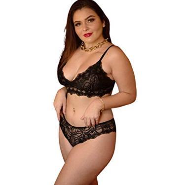 Conjunto de lingerie conforto em renda (Amarelo, 48)