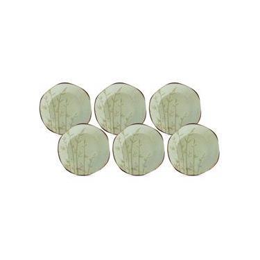 Conjunto de Pratos de Sobremesa Oxford Porcelanas Ryo Bambu em Porcelana 21,5 cm – 6 Peças