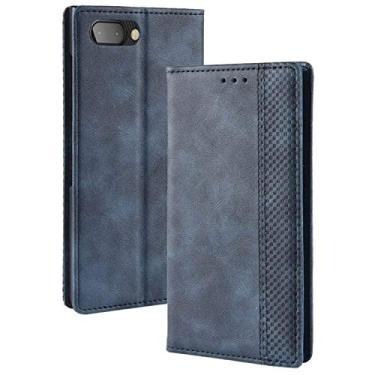 LUSHENG Capa para BlackBerry KEY2, capa flip ultrafina de couro com função de suporte para cartão de crédito, capa interna macia de TPU para BlackBerry KEY2 - azul